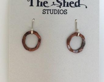 Small Copper Hoops, Small Copper Earrings, Little Hoops
