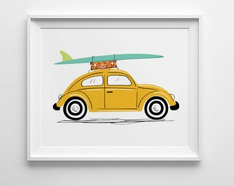 VW Beetle Art Print, VW Bug print, surf board art, nursery wall art, nursery decor, surf trip, Volkswagen Beetle, vintage car illustration