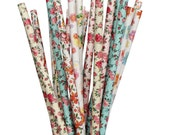 Floral Paper straws, pixie tea party, Vintage garden bridal shower, rustic wedding, fairy party straws, flower high tea, sip and see party