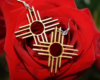 Wood Zia Symbol Earrings