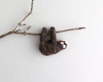 DIY Kit - Sloth Needle Felting Kit - Needle Felted Animal Kit