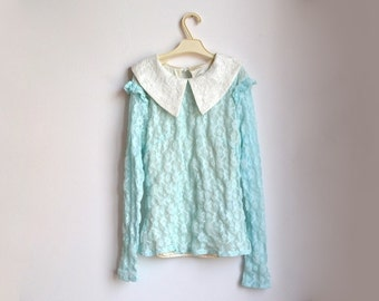 Long Sleeve Lace Top Collared Blouse White Peterpan Collar Aqua Turquoise Blue Small S XS