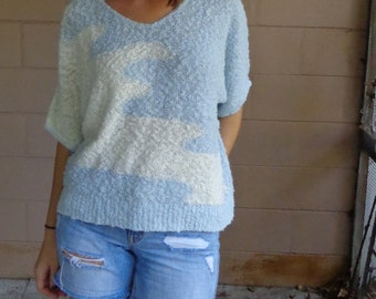 Vintage Knit Sweater Blouse / White and Baby Blue Shirt / OSFM