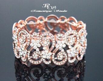 Art Deco crystal bracelet ROSE GOLD bridal rhinestone bracelet cuff bridal jewelry bridesmaid bracelet cuff bridesmaid jewelry B0120RG