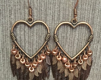 Handcrafted,Heartshaped, Copper Bead and Leaf Dangle Earrings