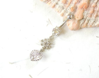 Heart Belly Ring, CZ Dangle Heart Belly Ring, Crystal Belly Ring, Belly Button Jewelry, Dangle Belly Ring, 14g Barbell, Pretty Belly Ring
