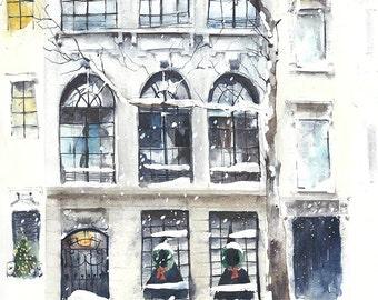 "Original watercolor painting street scene New York City 10 1/2 x 14"""