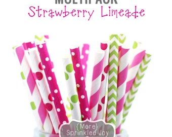 STRAWBERRY LIMEADE, Colorful Paper Straws, Multipack, Green, Pink, Lime, Chevron, Stripe, Party, Girl, Dots, Vintage, 25 Straws, 5 Designs