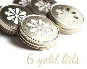 HOT SALE 6 Gold Mason Jar LIDS, Daisy Flower Cut, With Free Pulp Liners, Weddings, Christmas Gift, Showers, Parties, Drinks, Flowers etc.