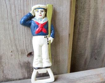Antique Sailor Cast Iron Bottle Opener- 1920's Nautical Opener