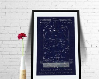 Astronomy Print June  Sky Zodiac Constellations Map Libra Virgo Northern Hemisphere