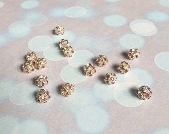 Pink rhinestone disco ball beads 6mm (5pcs)