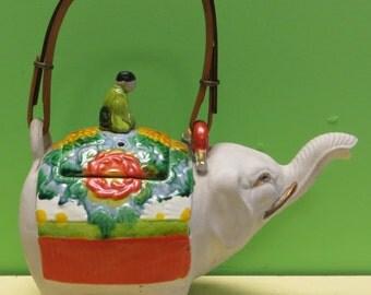 Japanese Marked Banko Pottery Teapot Elephant Meiji Ceramic Figural Art - Free Shipping
