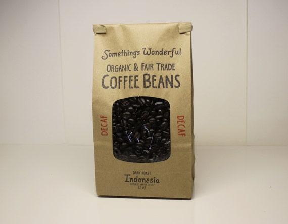 Natural Dark Coffee : Organic fair trade natural water decaf indonesian dark roast