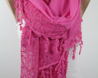 Cotton Scarf Tulle Pink Scarf Shawl Lace Scarf Spring Summer Scarf Pink Wedding Scarf Wrap Shawl Scarf Wedding Favors Bridesmaids Gifts