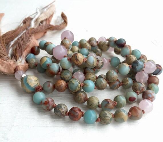 8mm Boho African Opal Mala Beads,l Peruvian Blue, Rose Quartz Sari Silk Tassel, Long Tassel , Yoga Mantra Meditation Prayer Beads