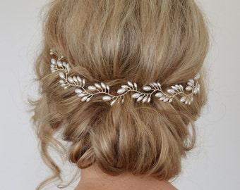 Art Deco Bridal Hair Vine, Pearl Bridal Wreath,Rice Pearl Wedding Halo, Wedding Hair Vine, Fern Leaf Bridal Headpiece, Bridal Halo, wreath