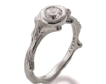 Twig Engagement Ring - 18K White Gold and Diamond engagement ring, engagement ring, leaf ring, filigree, antique, art nouveau, vintage, 10