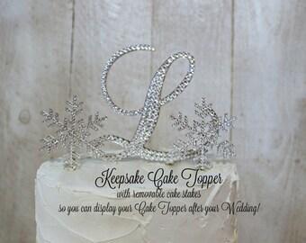 Snowflake Wedding Cake Topper KEEPSAKE, Winter Wonderland Cake Topper Swarovski Crystals A B C D E F G H I J K L M N O P Q R S T U V W X Y Z