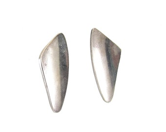 Vintage Taxco Silver Earrings, Modernist, Signed 925, Mexico