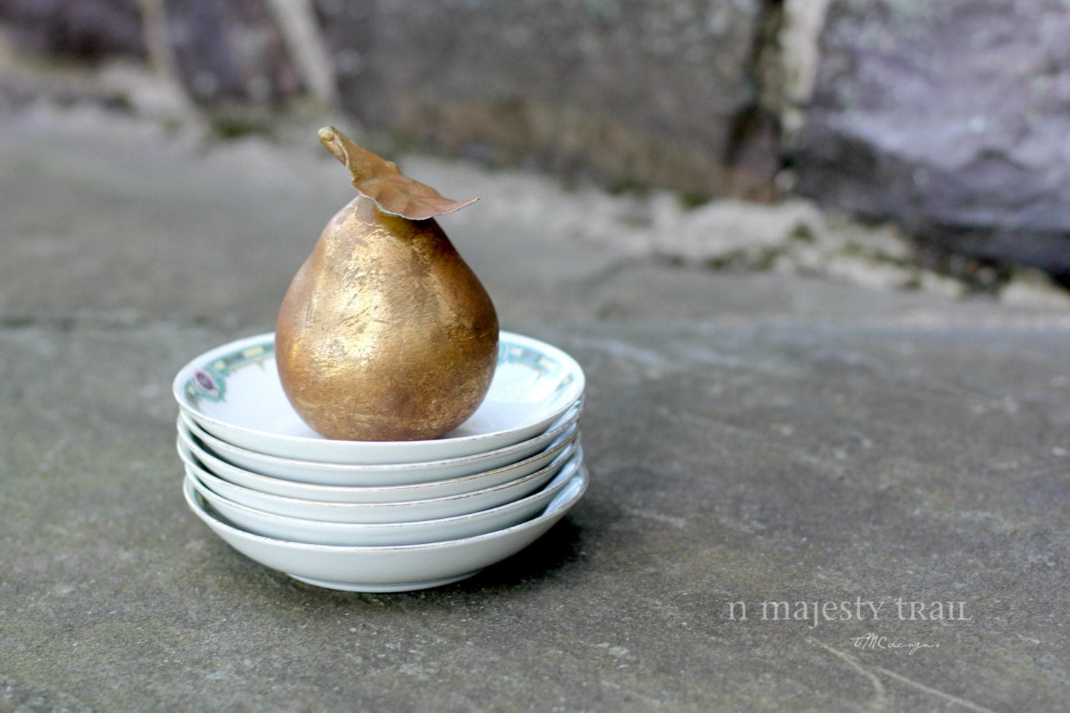 Decorative golden pear w leaf vintage home decor faux Pear home decor