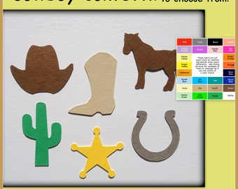Cowboy confetti, paper cowboy hat, cactus, horseshoe, cowboy boot - big variety of color choices