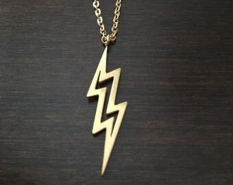 gold lightning bolt necklace, lightning bolt necklace, lightning bolt pendant, lightning bolt, lightning, lightning necklace, gold necklace