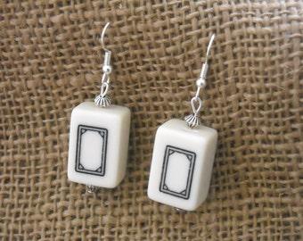 Mini Mahjong Earrings - Oriental Earrings - Mahjong Jewelry - Mahjong Earrings - Gift for Her - White Mahjong Jewelry - Mahjong  Gift