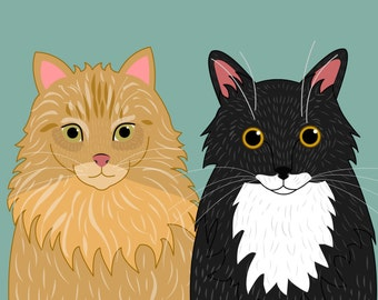 Cat portraits. Custom couple cat portraits.  Custom illustration. Custom pet Portraits.