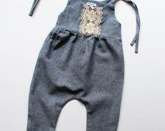 Linen & Lace jumpsuit-linen romper/jumpsuit- denim blue jumpsuit/romper- lace jumpsuit/romper- toddler romper / jumpsuit - girls romper