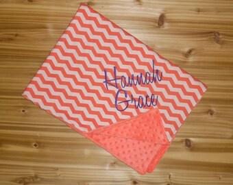 Minky Baby Blanket - Coral Chevron with Coral Minky - Custom Monogram