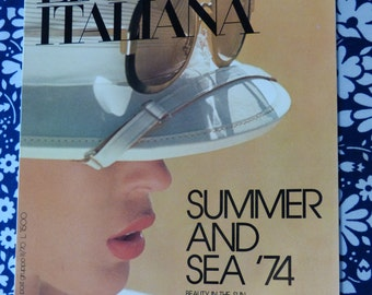 LINEA ITALIANA women's fashion magazine - May 1974 summer and sea issue - French 70s vintage