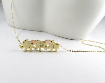Personalized elephants necklace,mom of three kids necklace.Anniversary gift,Initial gold elephant.three sisters gift. three gold elephants