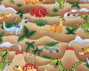 Patchwork Quilting Fabric Nutex Jurassic Dinosaur Allover