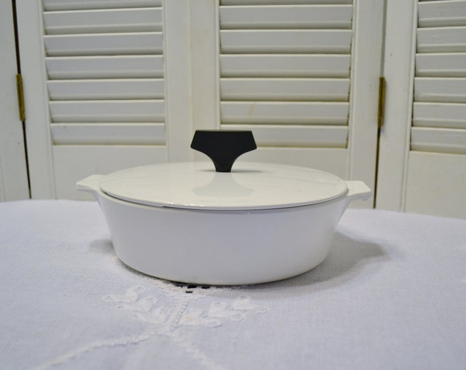 Mid Century Corning Buffet Server One Quart Casserole with Lid White Black Modern PanchosPorch