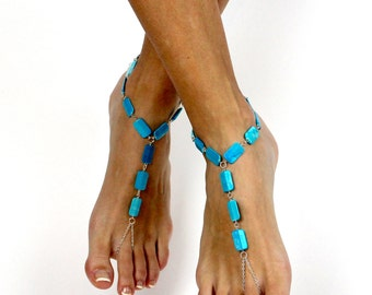 Turquoise Barefoot Sandals Boho Foot Jewelry Blue Anklet Slave Anklet Turquoise Sandals Boho Jewelry Bare Foot Sandals Bohemian Foot Thong
