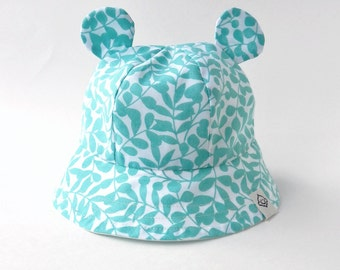 Baby Sun Hat in Turquoise Leaves Organic Cotton, Bear Ear Toddler Beach Hat, Eco Friendly Baby Boy or Girl Bucket Hat, Newborn Baby Sun Hat