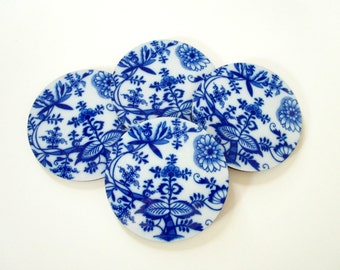 Blue Onion Coaster Set - Flow Blue Coasters - Vintage Style Coasters - Drink Coasters - Blue and White Coasters - Cottage Decor - Mom Gift