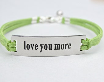 Love You More , Stainless Steel Charm Bracelet , Adjustable Faux Suede Leather Cord Bracelet, Gift For Her, Mother/Daughter, Sisters, ST755