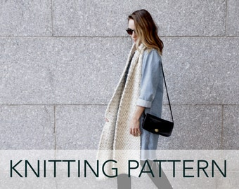 Knitting Pattern // Super Long Wide Linen Stitch Striped Two Tone Scarf // Lighthouse Bay Super Scarf PATTERN