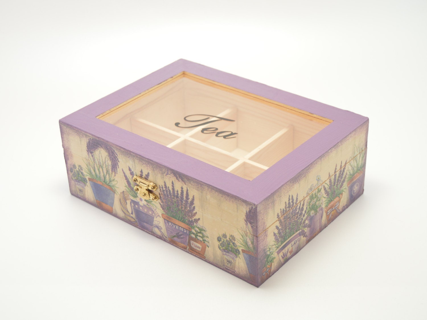 Decoupage tea box wooden box tea box lavender decoration