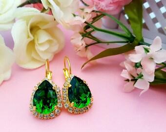 Emerald Teardrop Earrings, Dark Green Earrings, Fern Green Crystal Earrings, Emerald Birthstone Gift, Swarovski, Gold  Teardrop, E3360