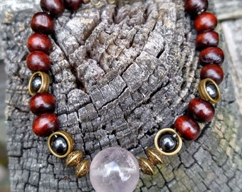 Wood with bronze accents and amethyst focal beaded bracelet