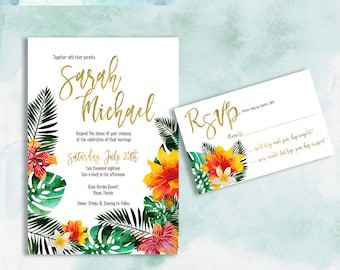Printable tropical wedding Invites Hawaiian Invitation Beach Wedding invitations Watercolor Floral destination wedding DIY 275a Digital jpg