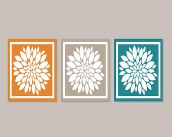 Teal Orange WALL ART, Bedroom Wall Decor, Bedroom Picture, Flower Wall Art, Home Decor, Flower Art, Dahlia Art Set of 3 Prints Or Canvas