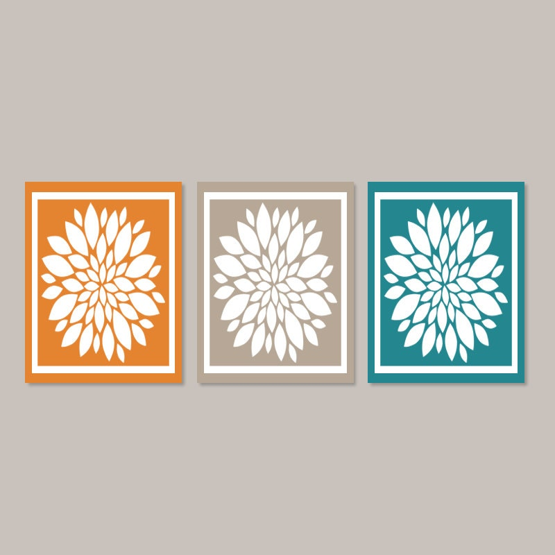 Teal Orange WALL ART Bedroom Wall Decor Bedroom Picture