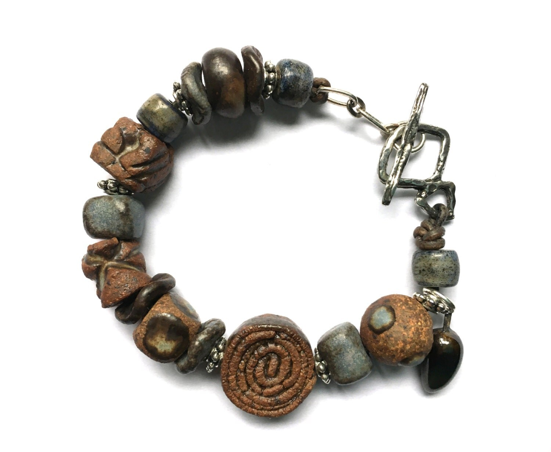 beaded bracelet ceramic bracelet artisan jewelry boho
