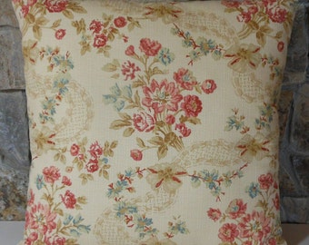 """French Floral Pillow Cover//20"""" Throw Pillow"""