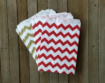 Red and Gold Chevron Paper Treat Sacks,  Party Favor Bags, Holiday Gift Bag, Cookie or Candy Treat Sack, 48 bags