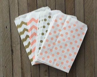 48 Peach and Gold Favor Bag--Chevron Favor Sack--Polka Dot Candy Favor Bag-- Goodie Bag--Party Sack--Birthday Treat Sacks